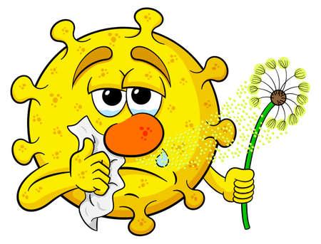 fiebre: ilustración vectorial de un polen con la fiebre del heno