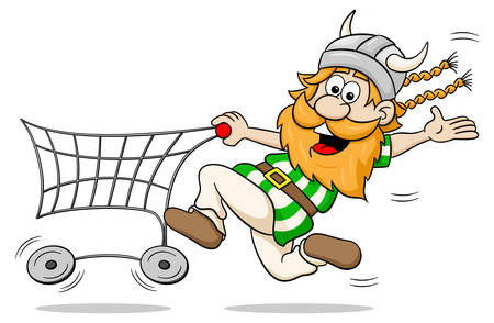 trolly: vector illustration of a viking while shopping with shopping cart Illustration