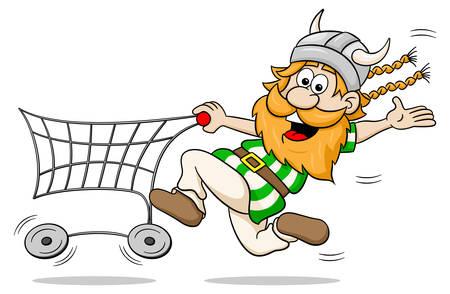 happy shopper: vector illustration of a viking while shopping with shopping cart Illustration
