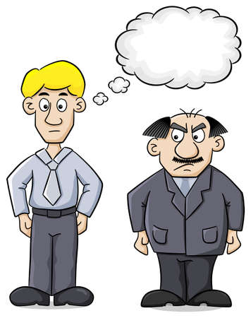 distrustful: illustration of an employee and his distrustful boss