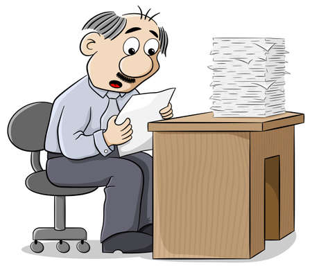 dismayed: illustration of an office worker reads a letter dismayed at the news Illustration