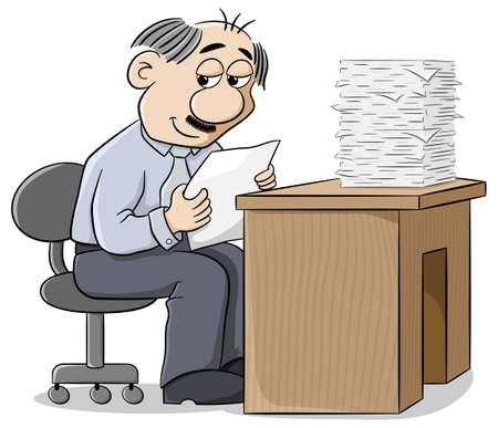 pleasing: illustration of an office worker reads a pleasing letter