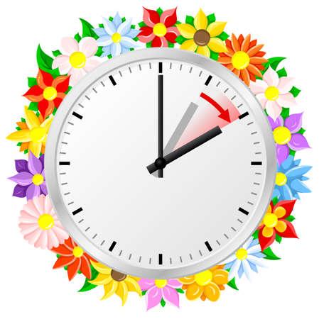 Illustration einer Uhr wechseln auf Sommerzeit Sommerzeit beginnt