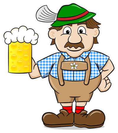 leather pants: illustration of a bavarian in leather pants with beer mug Illustration