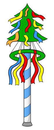 traditonal: illustration of a cartoon bavarian maypole