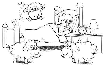 vector illustration of sheep jumping over the bed of a sleepless man