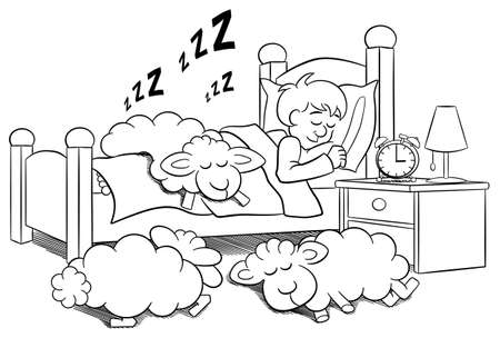 lying in bed: vector illustration of sheep fall asleep on the bed of a sleeping man