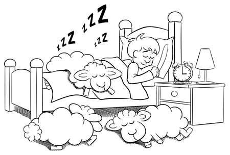insomniac: vector illustration of sheep fall asleep on the bed of a sleeping man