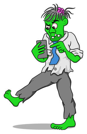 menacing: vector illustration of a businessman zombie with a smartphone