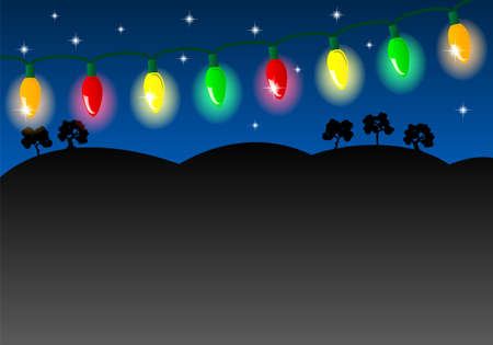 outdoor lights: vector illustration of a chain of colorful lights