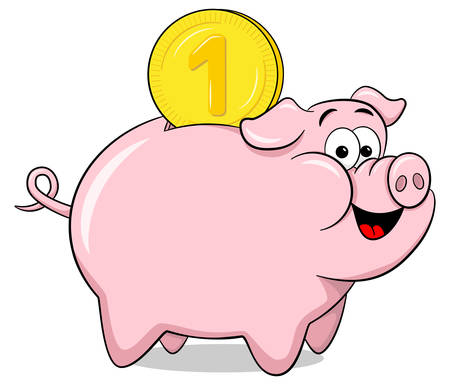 vector illustration of a cartoon piggy bank Ilustração