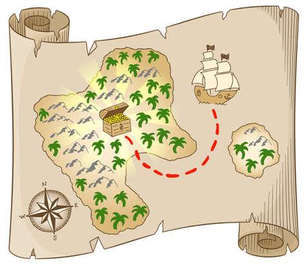 vector illustratie van een oude schatkaart