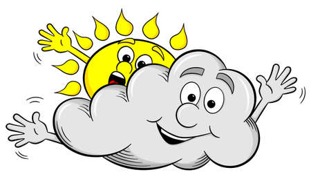 vector illustration of cartoon sun and cloud make overcast sky Illustration