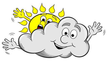vector illustration of cartoon sun and cloud make overcast sky Ilustrace