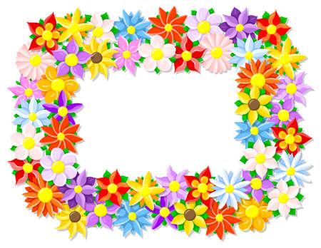 borde de flores: ilustración vectorial de una frontera de flores de colores Vectores