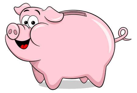 vector illustration of a cartoon piggy bank Banco de Imagens - 58387660