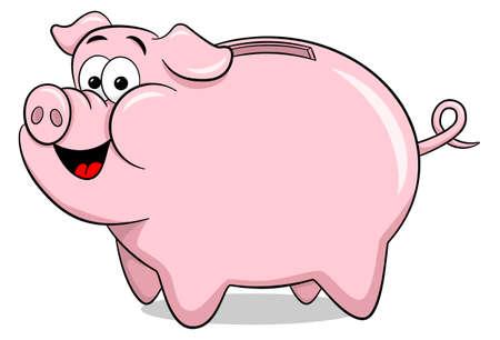 thrift: vector illustration of a cartoon piggy bank Illustration