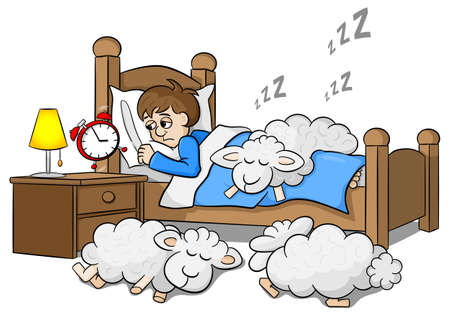 tired cartoon: vector illustration of a sleepless man wakes up in the morning by the alarm clock