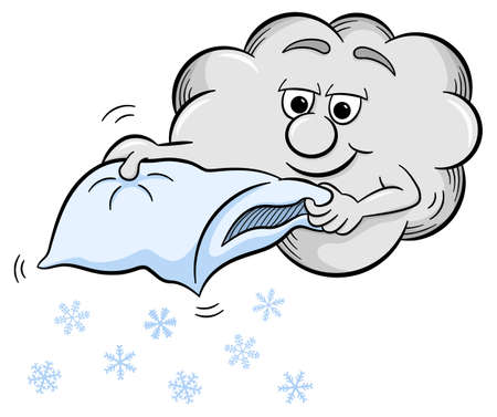 shakes: vector illustration of a snow cloud which shakes a pillow