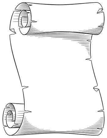rolled scroll: vector illustration of an old parchment scroll