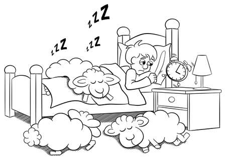 snore: vector illustration of a sleepless man wakes up in the morning by the alarm clock