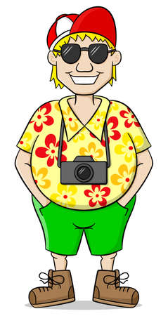 short pants: vector illustration of a tourist with camera, shirt and short pants