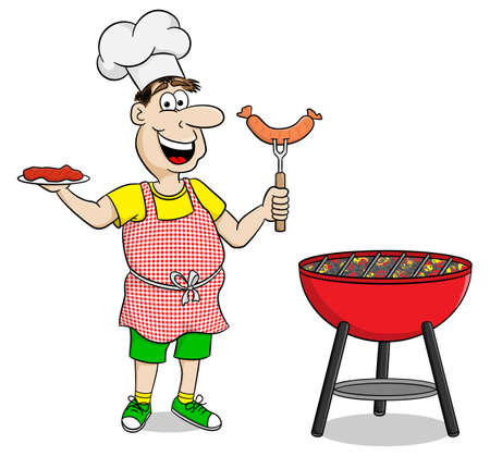 grilling: vector illustration of a man with apron grilling steak and sausages