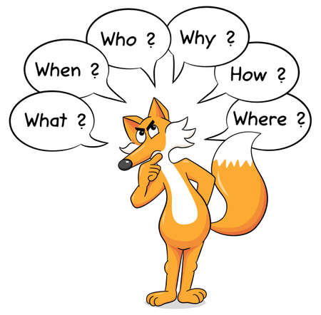 investigate: vector illustration of a fox who asks questions