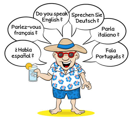 polyglot: vector illustration of a cartoon tourist who wants to know what languages you speak in different languages Illustration