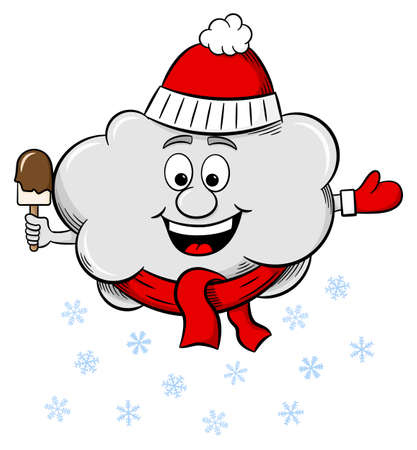 cartoon cloud: vector illustration of a snow cloud with scarf and hat