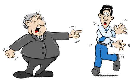 yells: illustration of a boss yells at an employee