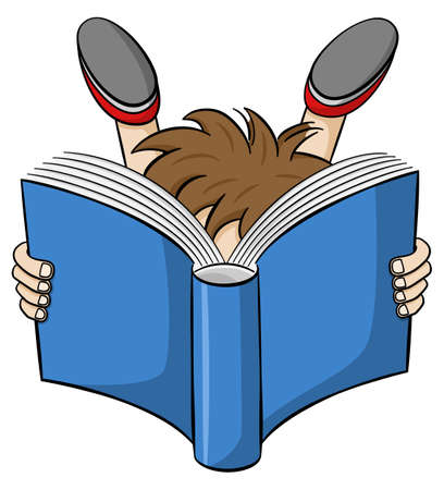 engrossed: illustration of a entranced read child Illustration