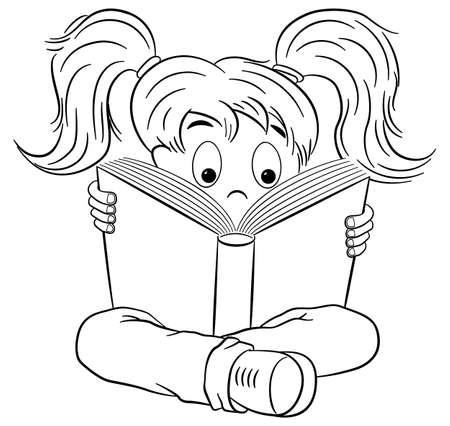 reading books: illustration of a entranced read child Illustration