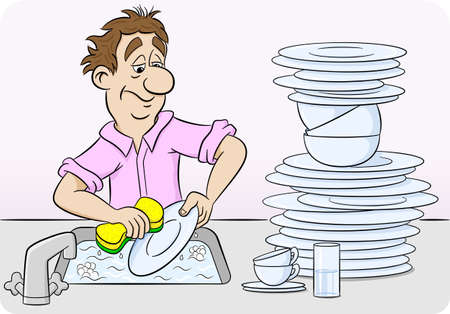 dish: illustration of a man who is washing up dishes