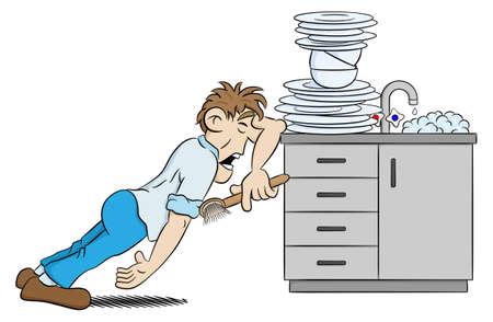 wash dishes: ilustración de un hombre está lavando los platos en la desesperación Vectores