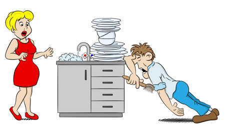 despair: illustration of a man is washing the dishes in despair