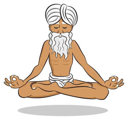 yogi: illustration of a floating and meditating yogi