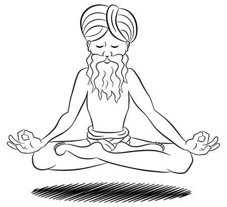 Ilustración de un yogui flotante y la meditación