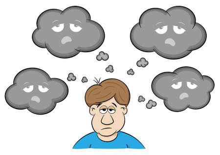 illustrazione vettoriale di un uomo con pensieri depressivi Vettoriali