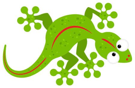 vector illustration of a green cartoon lizard Illustration