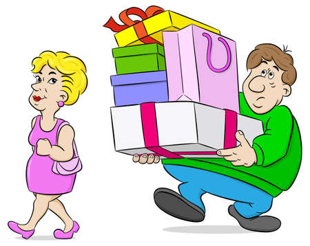 vector illustration of a man carrying shopping bags his wife
