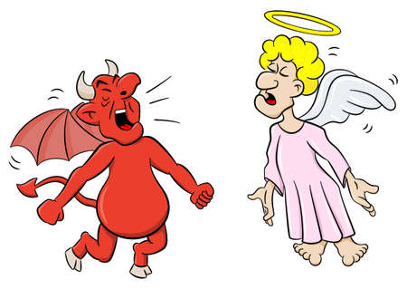 nimbus: vector illustration of an angel and a devil