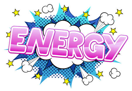 vector illustration of a comic sound effect energy