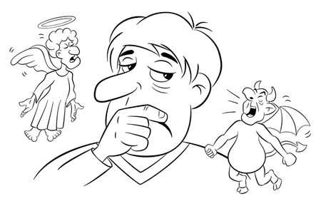 vector illustration of a man with angel and devil on his shoulders Ilustração Vetorial