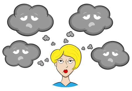 ilustración vectorial de una mujer con pensamientos depresivos