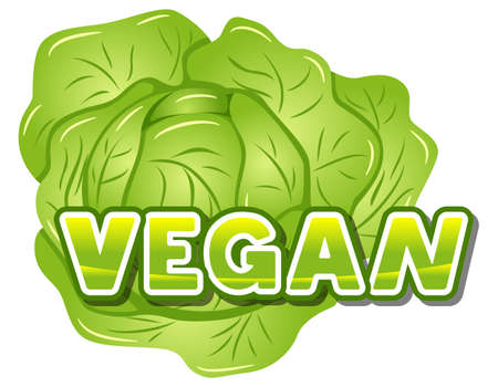 vector illustration of the lettering vegan in front of a lettuce