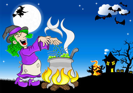 magic potion: vector illustration of a witch cooking a magic potion in the cauldron Illustration