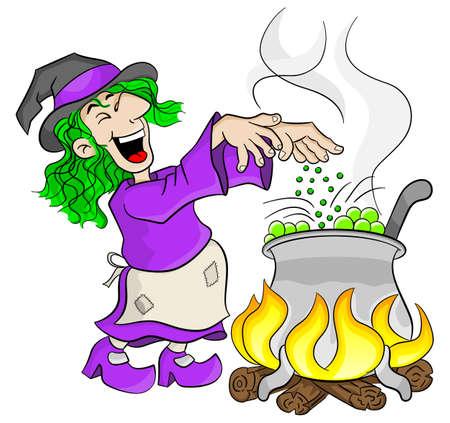 pocion: ilustración vectorial de una bruja cocina una poción mágica en el caldero