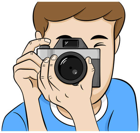 photo shooting: vector illustration of a look directly into the camera of a photographer Illustration