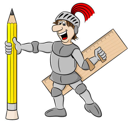 vector illustration of a small knight armed with pencil and ruler